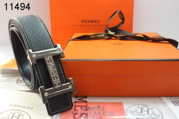 Hermes with H Buckle Mens Belt Black Grey Wholesale