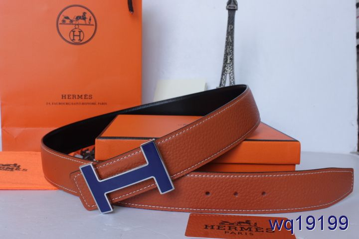 Brand Mens with Blue H Buckle Belt Orange Hermes On sale