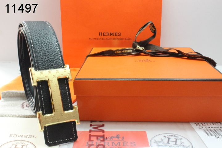 Authentic Mens Hermes Black with Golden H Buckle Belt
