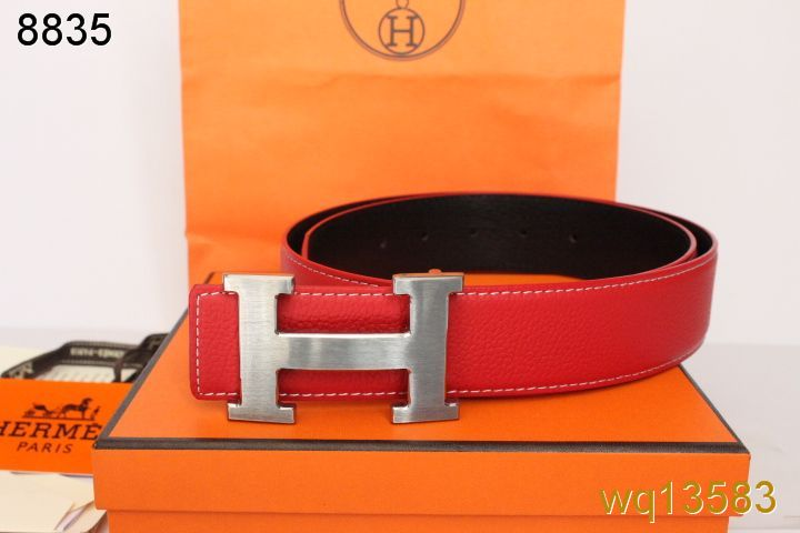 Red Mens Hermes Belt with Silver H Buckle UK