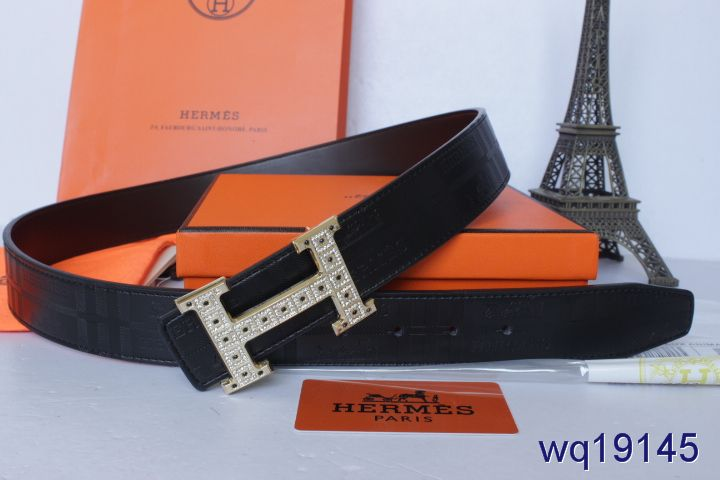 Brand Hermes Black Belt with Golden H Buckle Mens