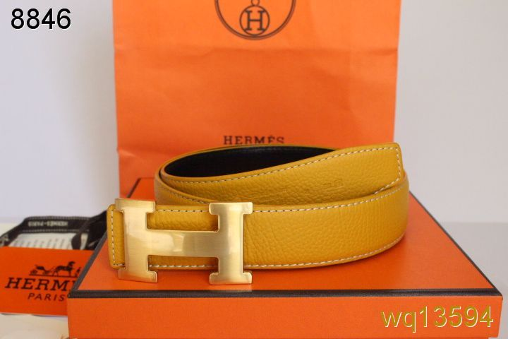 Belt with Golden H Buckle Mens Hermes Yellow Affordable