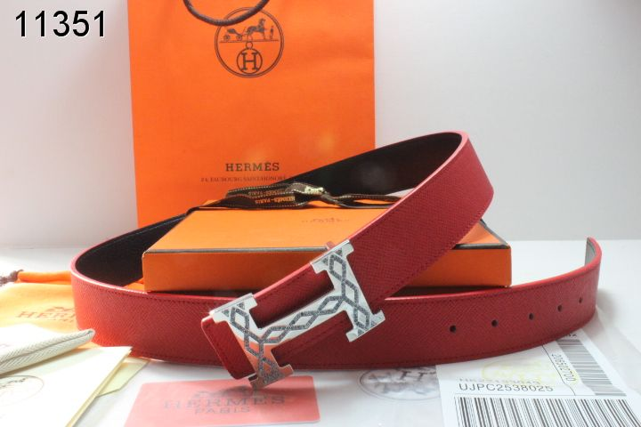 Belt Mens Hermes Red with Silver H Buckle Online