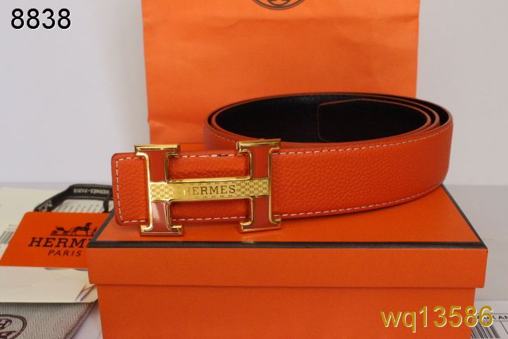 Special with Golden H Buckle Hermes Mens Orange Belt Clearance S