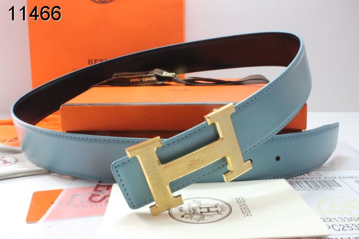Cheap Belt with Golden H Buckle Blue Mens Hermes On sale