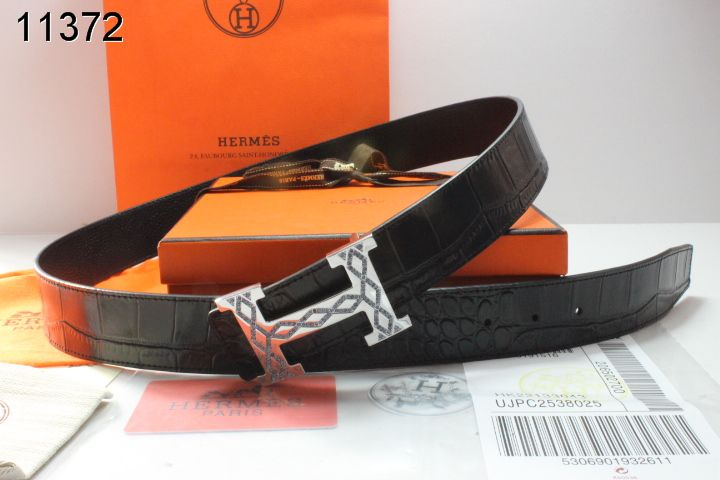 Amazing Mens Hermes with Silver H Buckle Belt Black Affordable