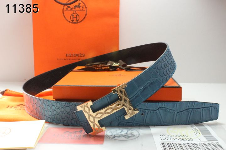 Special Belt Blue Hermes Mens with Golden H Buckle Online