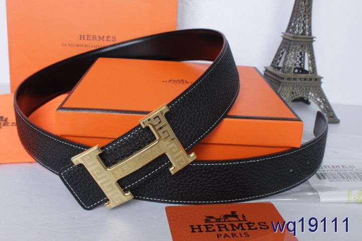 Nice Mens Black with Golden H Buckle Belt Hermes