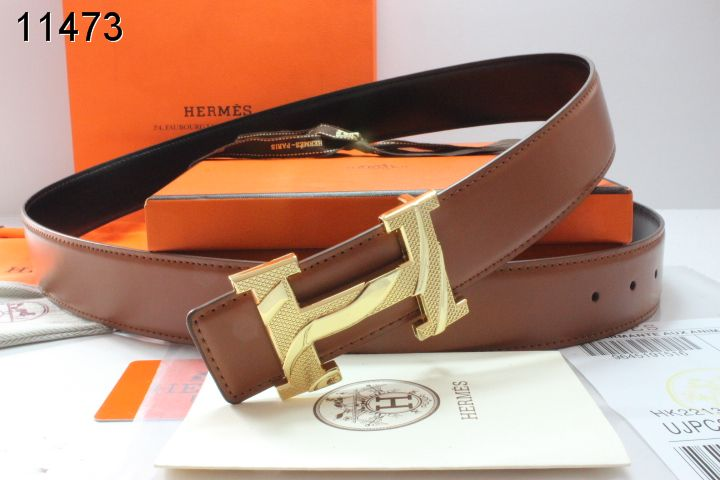 Designer Mens Hermes with Golden H Buckle Brown Belt Store