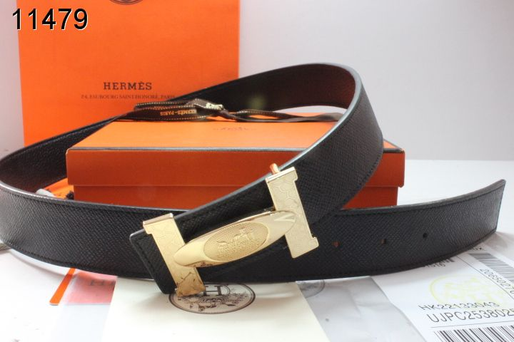 Fashion Belt Black with Golden H Buckle Hermes Mens UK