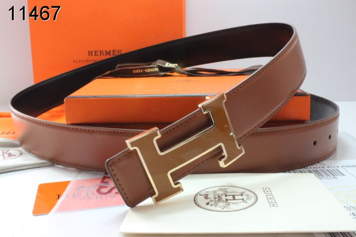 Fashion Belt Brown Hermes with Golden H Buckle Mens UK