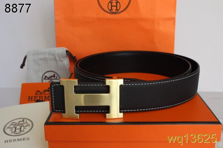 Great Hermes Black with Golden H Buckle Mens Belt