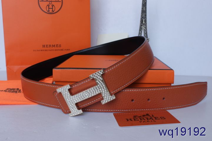 Fashion Mens Orange with Silver H Buckle Hermes Belt Affordable