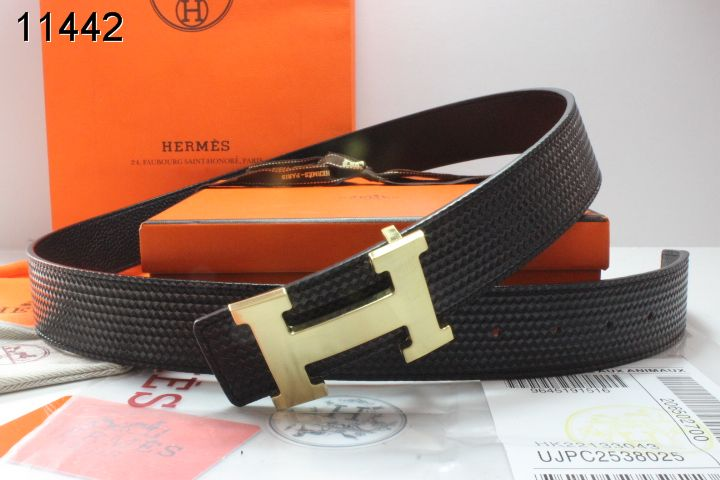 Stylish with Golden H Buckle Hermes Black Mens Belt Sale