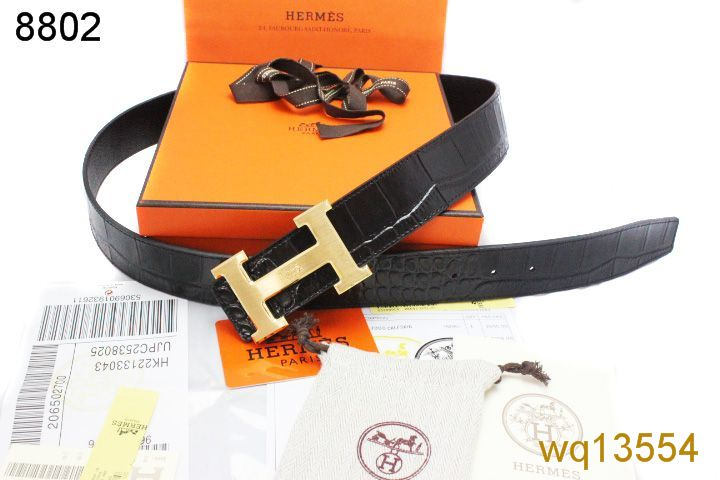 Fashion Mens with Golden H Buckle Belt Black Hermes