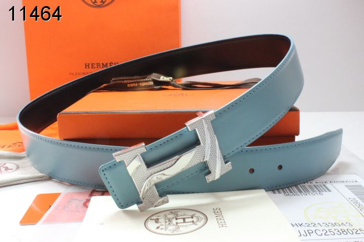 Designer Belt Mens Hermes with Silver H Buckle Blue Outlet