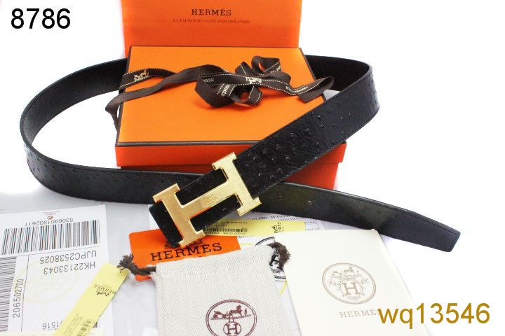 Discounted Mens Black Belt with Golden H Buckle Hermes