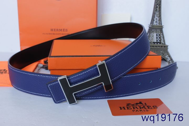 Fashionable Blue Belt Hermes Mens with Black H Buckle For sale