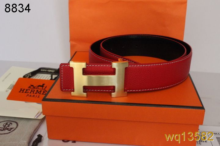 Red Hermes Mens with Golden H Buckle Belt Online