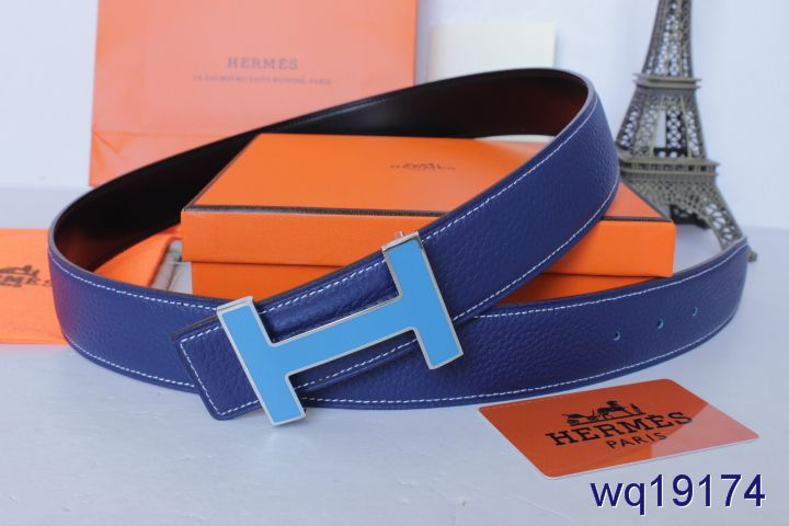 Stylish Blue Belt Hermes Mens with Light Blue H Buckle Inexpensi