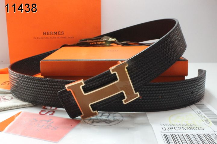 Black Mens Belt Hermes with Orange H Buckle Clearance Sale