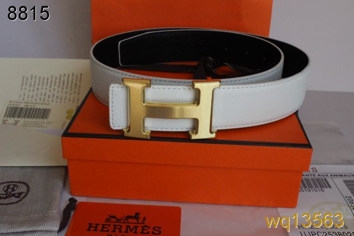 Belt Mens White Hermes with Golden H Buckle Deals