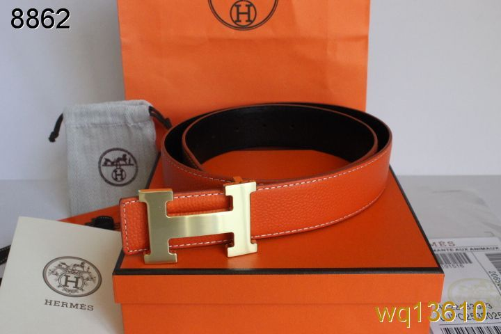 Latest Mens with Golden H Buckle Hermes Orange Belt Deals