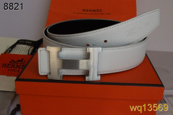 White Belt Mens with Silver H Buckle Hermes UK