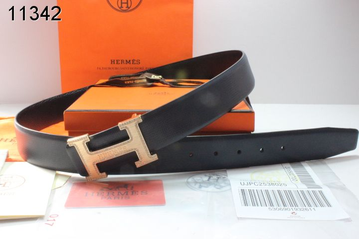 Black Mens Belt with Golden H Buckle Hermes Affordable