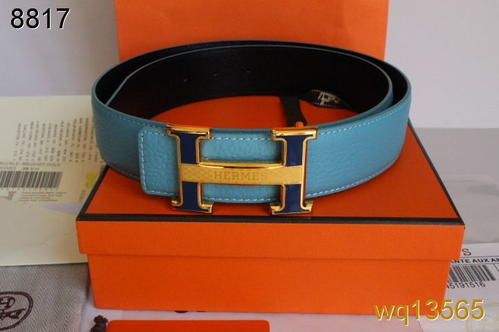 Latest Belt with Golden H Buckle Hermes Mens Blue On sale
