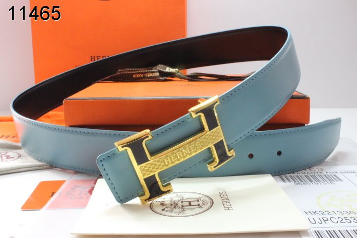 Brand Hermes Belt with Golden H Buckle Mens Blue On sale
