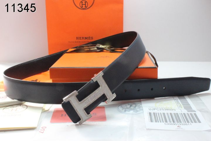 Fashion Belt Hermes Mens Black with Silver H Buckle Cheap Sale