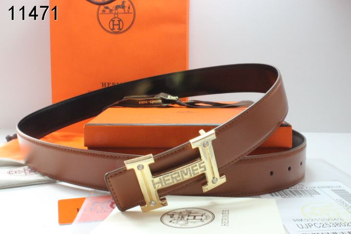 Brand Brown Hermes with Golden H Buckle Belt Mens Store