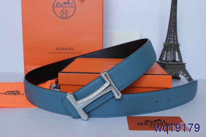 Fashionable Mens Blue with Silver H Buckle Hermes Belt Online