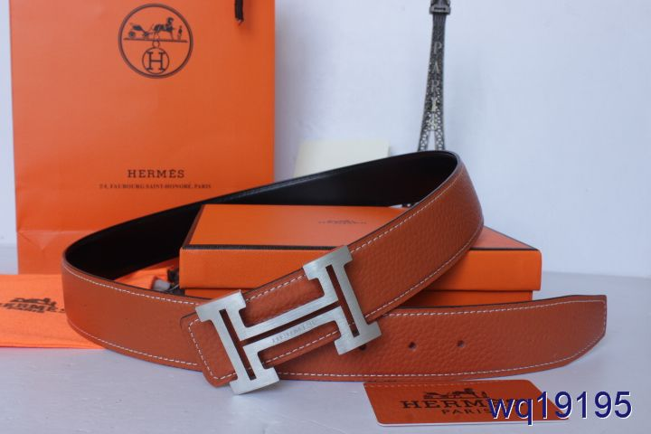 Discover Mens Hermes Orange with Silver H Buckle Belt Cheap Sale