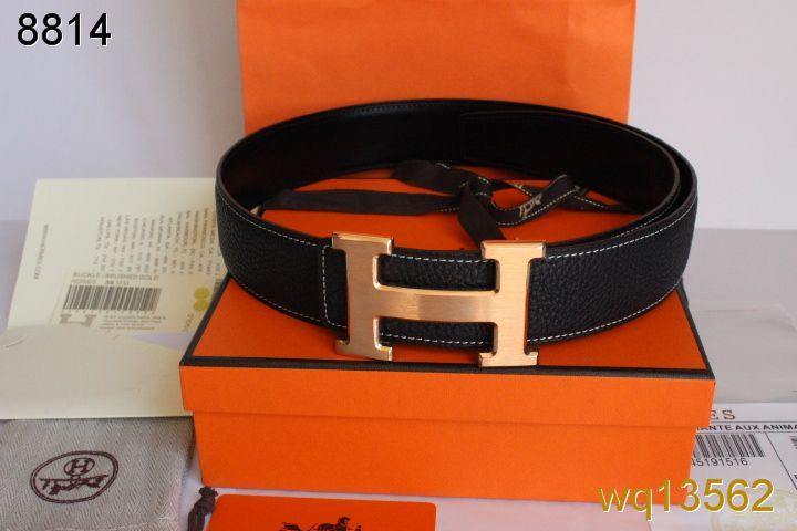 Find with Golden H Buckle Mens Belt Black Hermes