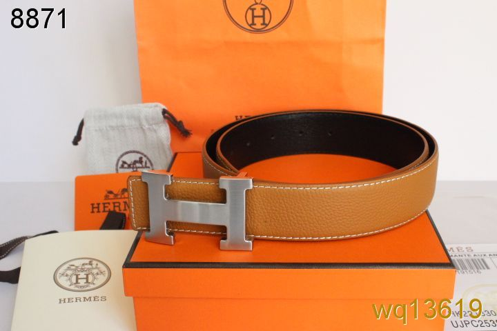 Amazing with Silver H Buckle Belt Orange Mens Hermes Affordable