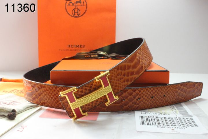 Stylish Hermes with Golden H Buckle Brown Belt Mens