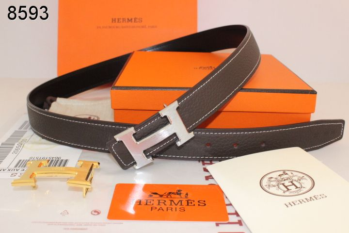 Custom Chocolate Hermes Womens Belt with Silver H Buckle