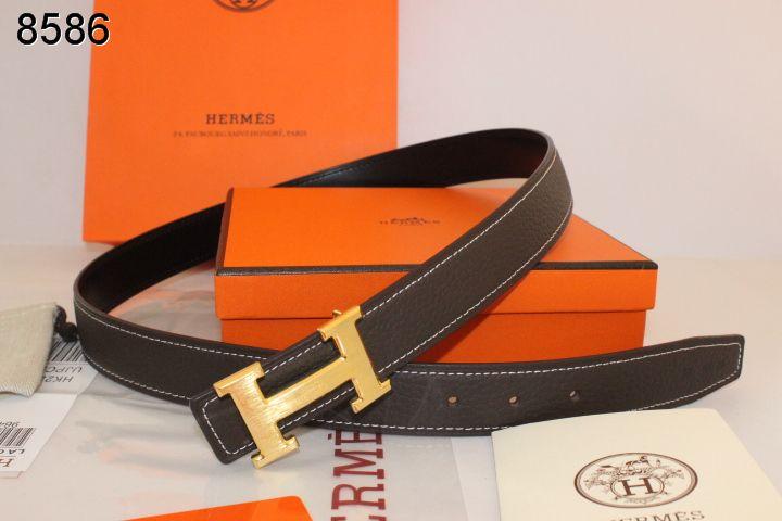 Discount Chocolate Belt Hermes with Golden H Buckle Womens