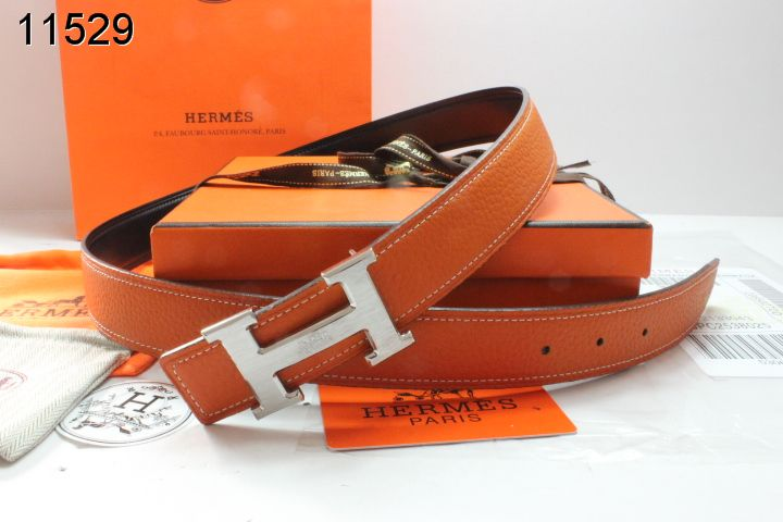 with Silver H Buckle Orange Hermes Belt Womens Online