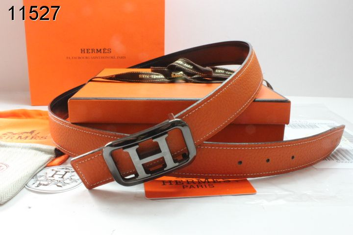 Womens Hermes with Black/Silver H Buckle Orange Belt Affordable