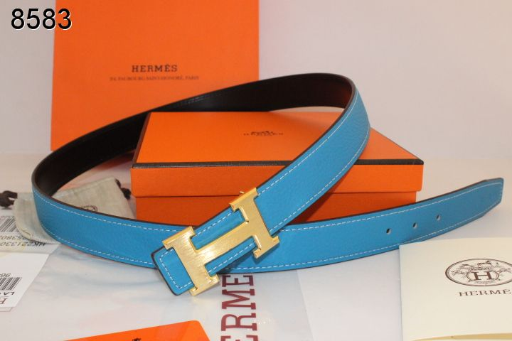 Find with Golden H Buckle Belt Blue Womens Hermes