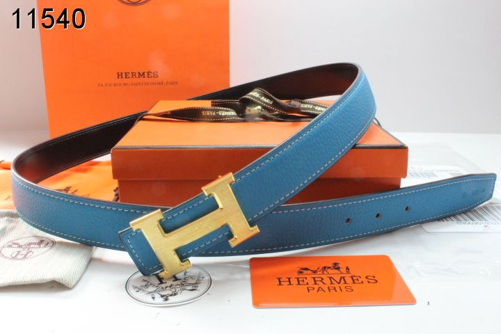 Luxury Blue Belt with Golden H Buckle Womens Hermes