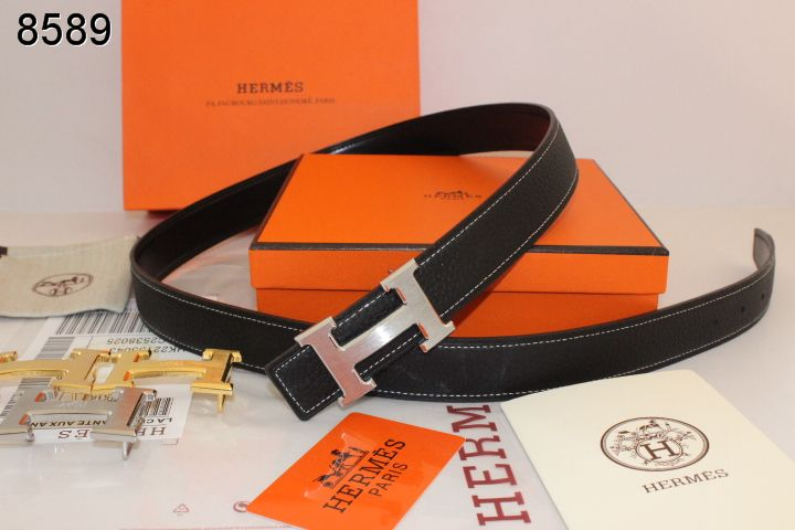 Perfect Womens with Silver H Buckle Hermes Black Belt