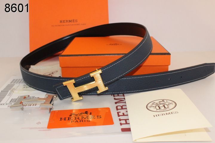 Brand Belt Dark Blue with Golden H Buckle Hermes Womens