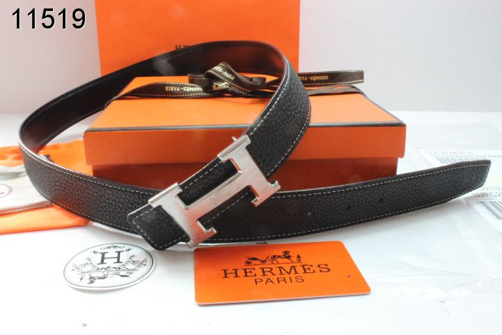 Special Black Belt with Silver H Buckle Womens Hermes