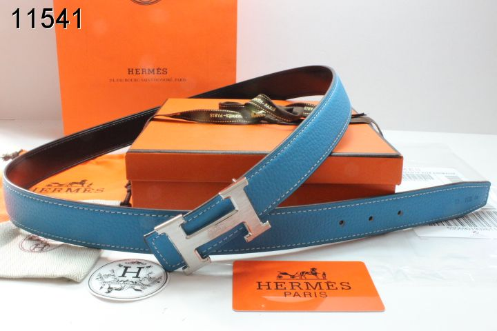 Latest Womens Belt with Silver H Buckle Hermes Blue