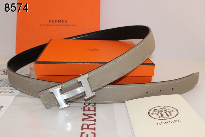 Belt Grey with Silver H Buckle Womens Hermes Sale