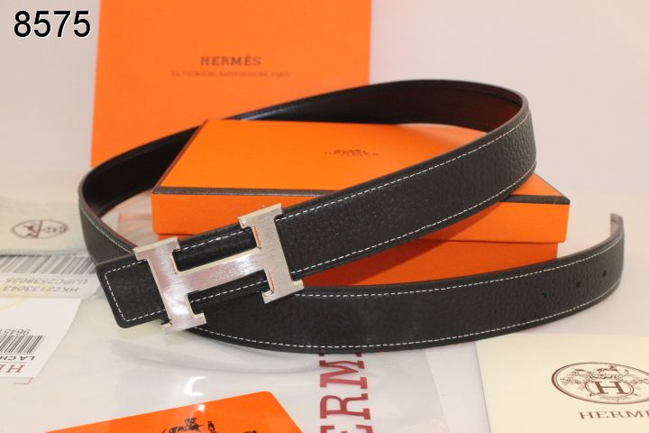 Personalised with Silver H Buckle Belt Hermes Black Womens